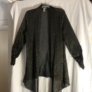 Black and gold open front cardigan